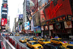 (toltequita) Tags: street city nyc urban ny newyork yellow way advertising square calle december publicidad traffic camino manhattan taxi midtown virgin timessquare times urbano cocacola thebest 2007 nuevayork chido trafico ciuad wowiekazowie toltequita juanrojo