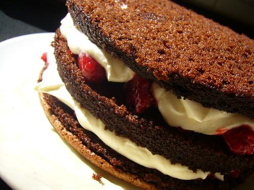 Chocolate raspberry creme fraiche cake