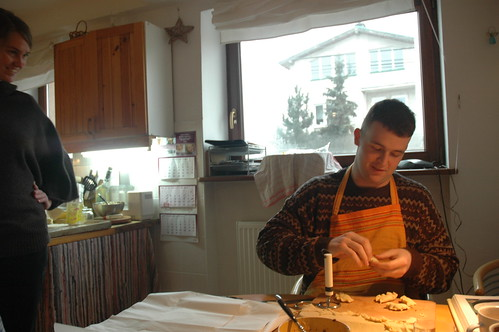 Joe making pierogis