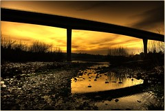 Under the Glowing Bridge (Extra Medium) Tags: california bridge sunset reflection beautiful yellow evening twilight scenery d200 slideshow hdr pennvalley photomatix thebestyellow