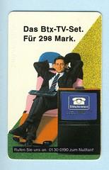 Alte Telefonkarte Btx-TV-Set (Kai-Erik) Tags: germany deutschland telekom tyskland btx telefonkarte bildschirmtext deutschebundespost funktechnik hftechnik