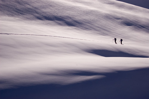 Skiers below Opal Cone, Garibaldi Provincial Park, BC