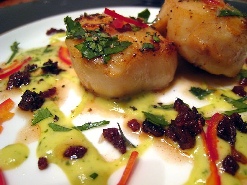 Scallops with Guanciale and Cilantro-Serrano Sauce