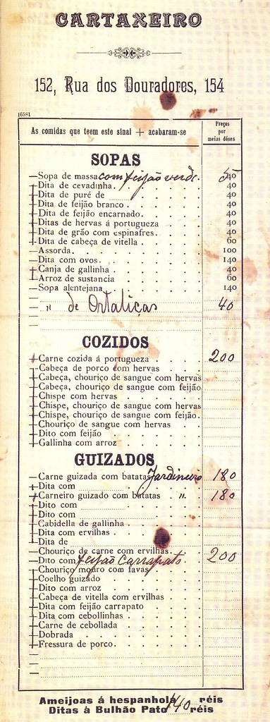 Menu do Restaurante Cartaxeiro, 1900s