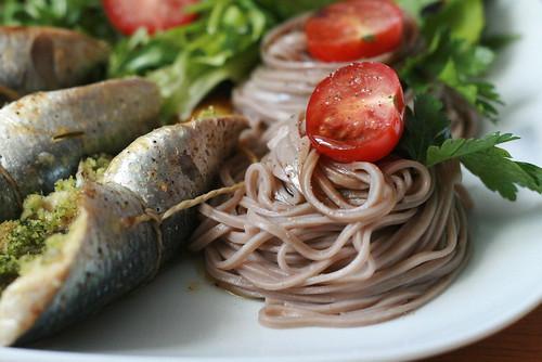 Sardines farcies et nouilles Soba