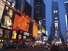 Times Square, New York (Danny--Boy) Tags: nyc newyorkcity usa newyork tourism night america wow ads square lights restaurant swatch united unitedstatesofamerica spot virgin bow hollywood timessquare times states planethollywood advertisements loews nys virginmegastore megastore bowwow