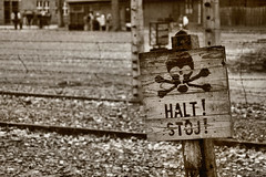 Stop Sign I (TurtleBee-X-24) Tags: camp 20d sign sepia canon eos death skull concentration wire europe nazi poland prison stop german jewish pow auschwitz barbed crossbones halt