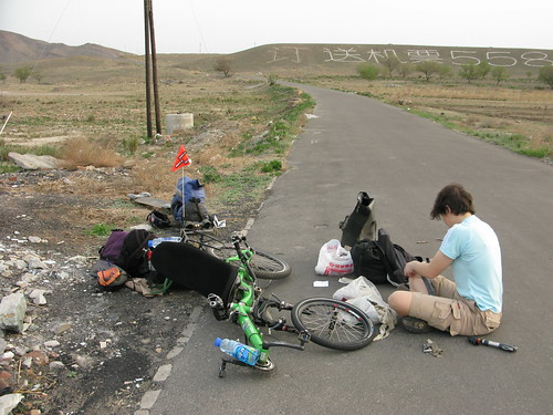 A flat on the first day out! (near Urumqi, Xinjiang Province, China)