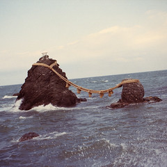 k (Kevin Tadge / Laura Lamp) Tags: ocean sea 120 6x6 mamiya film water japan mediumformat square rocks shrine kodak marriage wave rope portra ise mie 120mm rb67 wedded 160nc iwa meoto