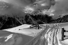 Snow Trail (explored 12/03/14) (galvanol) Tags: winter sunlight mountain snow alps clouds austria blackwhite skiing hiking canonef2470mmf28lusm tyrol sellrain stubaialps