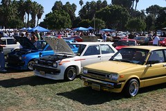Row of Starlets (VDO game junkie) Tags: vintage toyota nostalgic starlet jccs japaneseclassiccarshow queenmaryeventpark