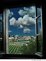 From My Apartment Window in Tuscany (Funkybug) Tags: italy window clouds landscape town village view apartment fineart surreal rows tuscany framing thumbsup breathtaking bigmomma fantasyworld pickyourpoison a3b funkyfotography certifieddeadly thechallengefactory challengefactory