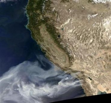 California wild fires from space