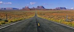 Leaving Monument Valley 10-2-2007 (Passerine) Tags: arizona film landscape velvia monumentvalley velvia50 polarizingfilter milemarker13
