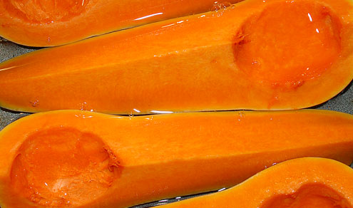 Butternut squash about to roast