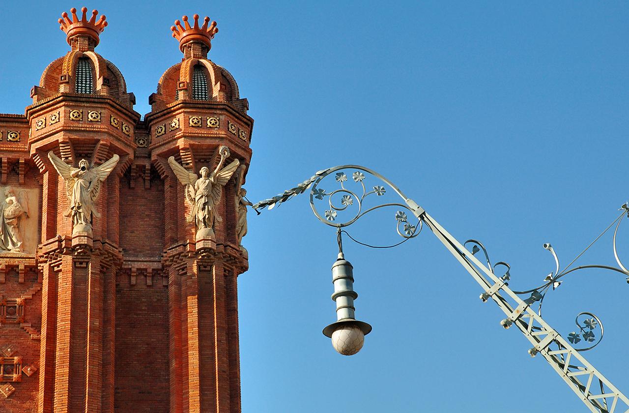 Arc de Triomph Detail with Modernist Street Lamp