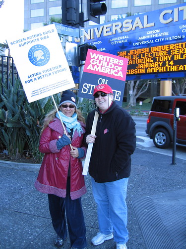Maria Maggenti & Dasha picketing Universal