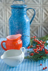 holiday rustic (mwhammer) Tags: christmas blue red orange white color green texture festive three holidays soft berries display vibrant patterns branches rustic explore multiples elegant simple spouts handles primarycolors creamers propstyling foodstyling mywinners melinahammer