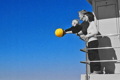 reaching out - cropped (rlonas) Tags: family blue sky beach ball child breathtaking beachball lifeguardtower