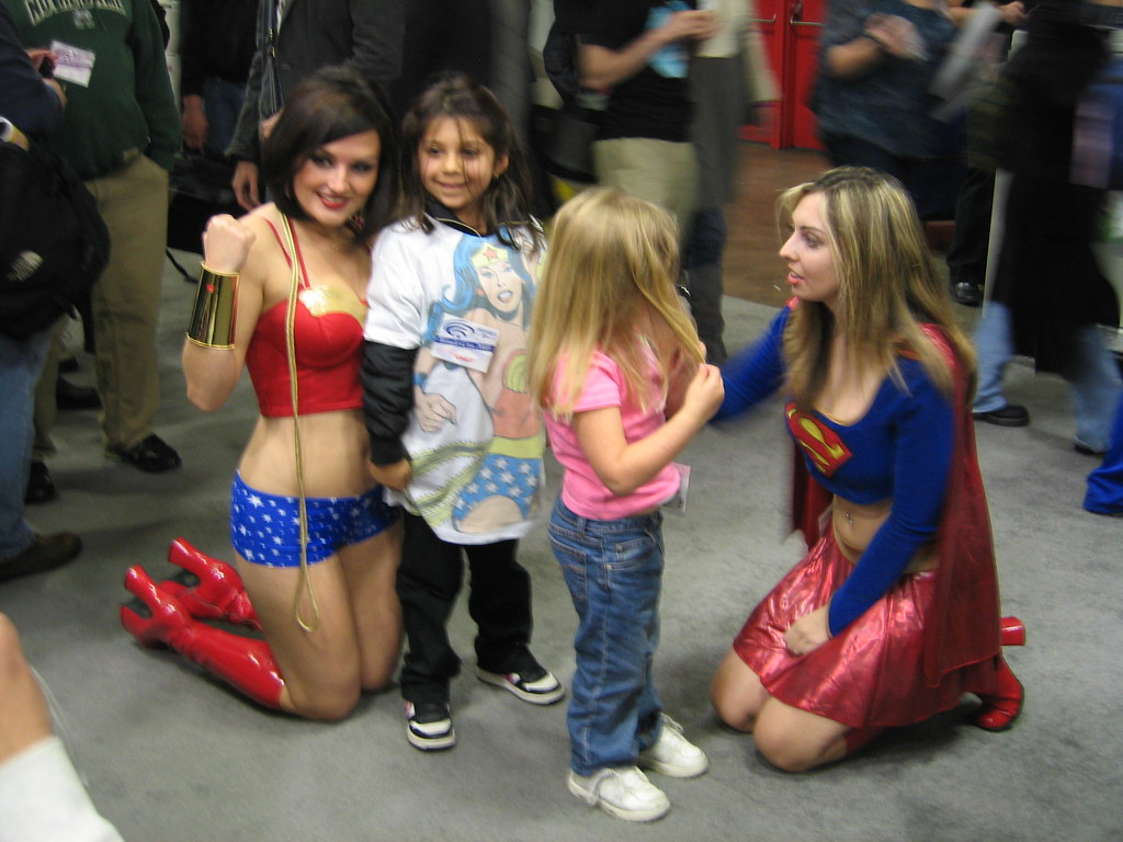 Wonder Woman, Super Girl and some admirers