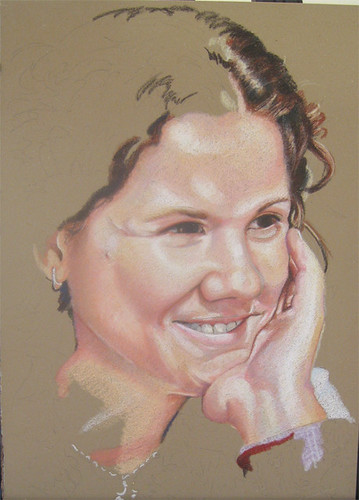 In progress photo of colored pencil drawing entitled Jan.