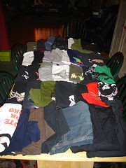 Table full of clothes
