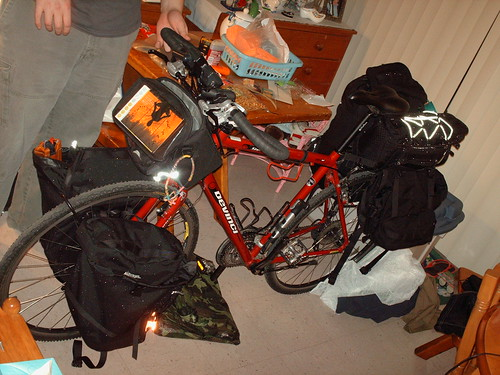 Partially packed bike