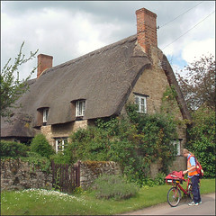 cottage at North Hinksey (Isisbridge) Tags: old uk roof england building english home bike bicycle architecture rural office post mail britain country royal historic oxford delivery thatch british postal oxfordshire postman