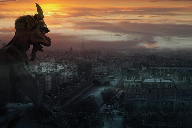 foto vista parigi da notre-dame con gargoyle