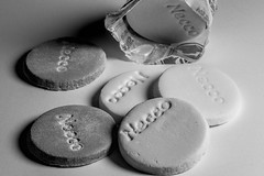 Necco Wafers (WilliamND4) Tags: macromondays bw blackandwhite candy monochrome round hmm nikond810 tokina100mmf28atxprod food
