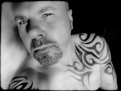 Tattoos in Monochrome (CWhatPhotos) Tags: olympus epl1 elp1 four thirds digital camera 1442mm view photo photos pics picture pictures pic image images foto fotos that have with which contain monochrome self portrait black white me cwhatphotos tattoo tattoos tattoed inked tribal tattooed ink body art upper arm shoulder arms chest flickr