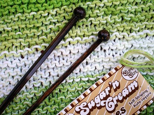 Square Knitting Needles and Sugar 'n Cream Yarn
