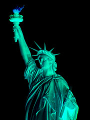 Shopped (jaccodotorg) Tags: nyc ny newyork statue night dark liberty nacht nighttime atnight nite dunkel afterdark donker redbluegreen nuite