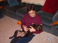 Cheyenne getting belly rub from her daddy. Feb 14, 2006