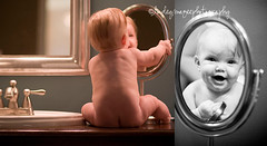 hellooo baby! (lindeymagee) Tags: baby reflection cute smile bathroom photography mirror searchthebest sink bum booty giggle buff storyboard bnw 6months slobber lindeymagee