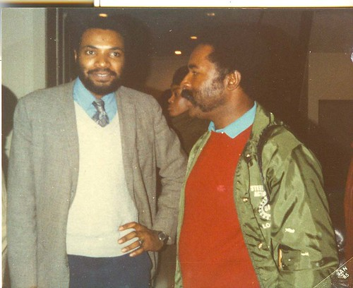 Abayomi Azikiwe (L) and Jesse Hooper after a South African Hero's Day Rally was held at New Bethel Baptist Church on December 16, 1984. The event featured two speakers from the African National Congress. (Photo: Pan-African News Wire). by Pan-African News Wire File Photos