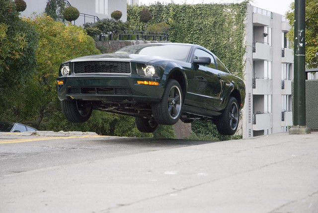 getting some air: 2008 Mustang Bullit