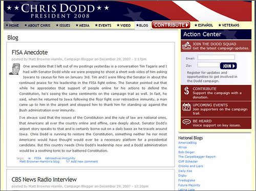 Chris Dodd for President Blog