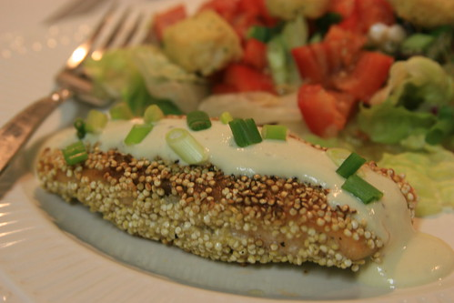quinoa encrusted salmon with dijon sauce