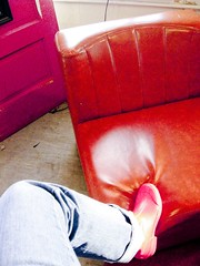 18/365 (insatiable73) Tags: door old red foot leg jeans 365 fatherandson rainboots hairchair insatiable73