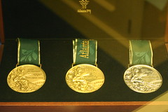 Olympic Medals (photosbyerich) Tags: atlanta sports bronze silver gold championship athletics ribbons 1996 award honor first competition victory medal greece tournament second third trophy prize ribbon awards athletes olympics trophies amateur medals craftsmanship olympicgames excellence finalist olympiad medalist summergames commemorate 3000views reedandbarton