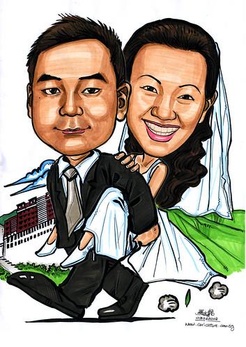 Caricatures couple honeymoon Tibet A4