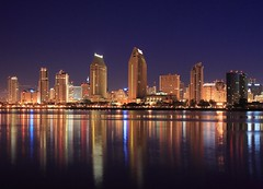 San Diego Skyline - Early Morning (Ryan Wentzel) Tags: california city longexposure urban reflection skyline architecture lights downtown cityscape sandiego citylights metropolitan canoneosdigitalrebelxt bayfront sandiegoskyline 5photosaday bluelist