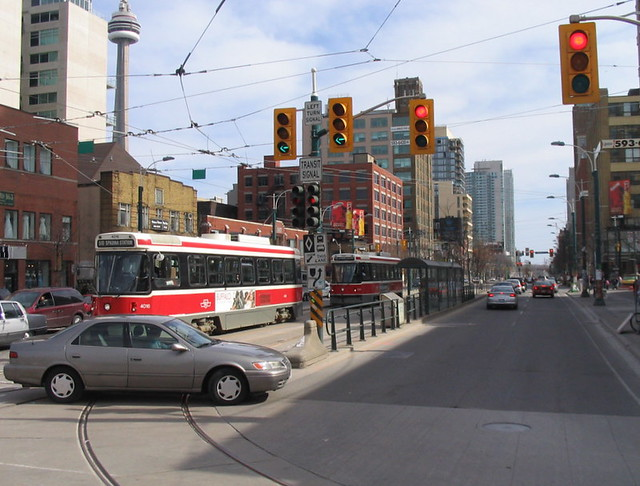 Bunched streetcars on Spadina