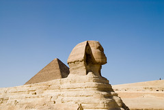 The Great Sphinx with The Great Pyramid in the Background in Giza (marantzer) Tags: digital ancient nikon pyramid egypt wideangle cairo egyptian d200 dslr polarizer giza pharoah cpl khufu dx flickrsbest greatsphinx afsdxzoomnikkor1224mmf4gifed marantzer