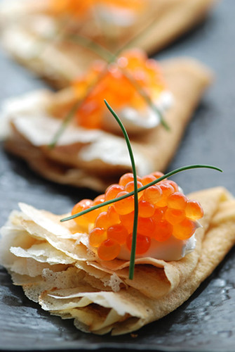 Blini with sour cream  and red caviar (by Tanya !)
