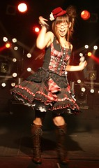 Yui getting groove on (shiroibasketshoes hopper) Tags: cute hat fashion japan female club asian concert dress boots singer charming