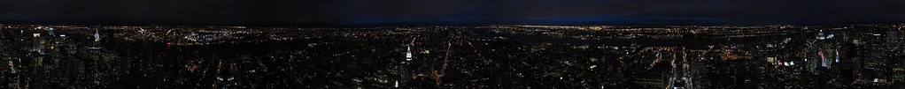 Manhattan at night 360 panorama from Empire State