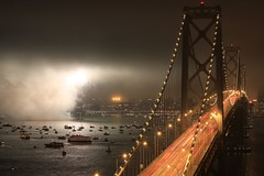 KFOG KABOOM in the Fog (A Sutanto) Tags: sf sanfrancisco california longexposure bridge fog boats lights bay traffic fireworks kaboom baybridge 2008 kfog supershot diamondclassphotographer flickrdiamond frhwofavs enlightedbridge