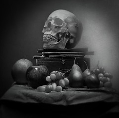 Still Life Study No. 001 (Geoffrey Martin Green) Tags: skull fetish moody atmospheric fineart stilllife antiquebooks fruit blackwhite bw blackandwhite
